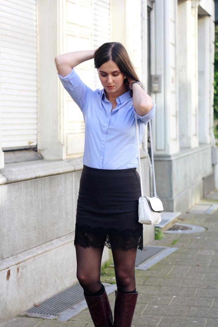 long winter coat lace slip skirt