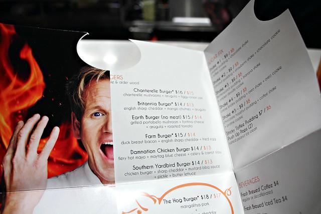 BURGR menu at Gordon Ramsay's restaurant in Las Vegas