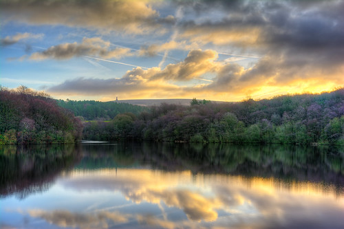 reflection tower sunrise woods reservoir moor darwen roddlesworth