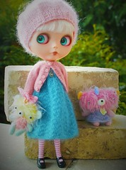 Daphne in Deb Hansen cashmere sweater and hat, Primrose Pettigrew dress with Violet Pie Scrappy Bears.