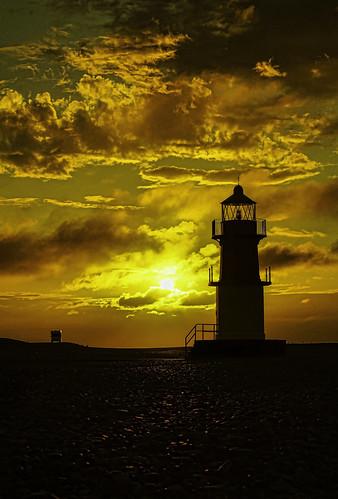 sunset sky lighthouse beach clouds sony alpha isleofman campervan pointofayre peables