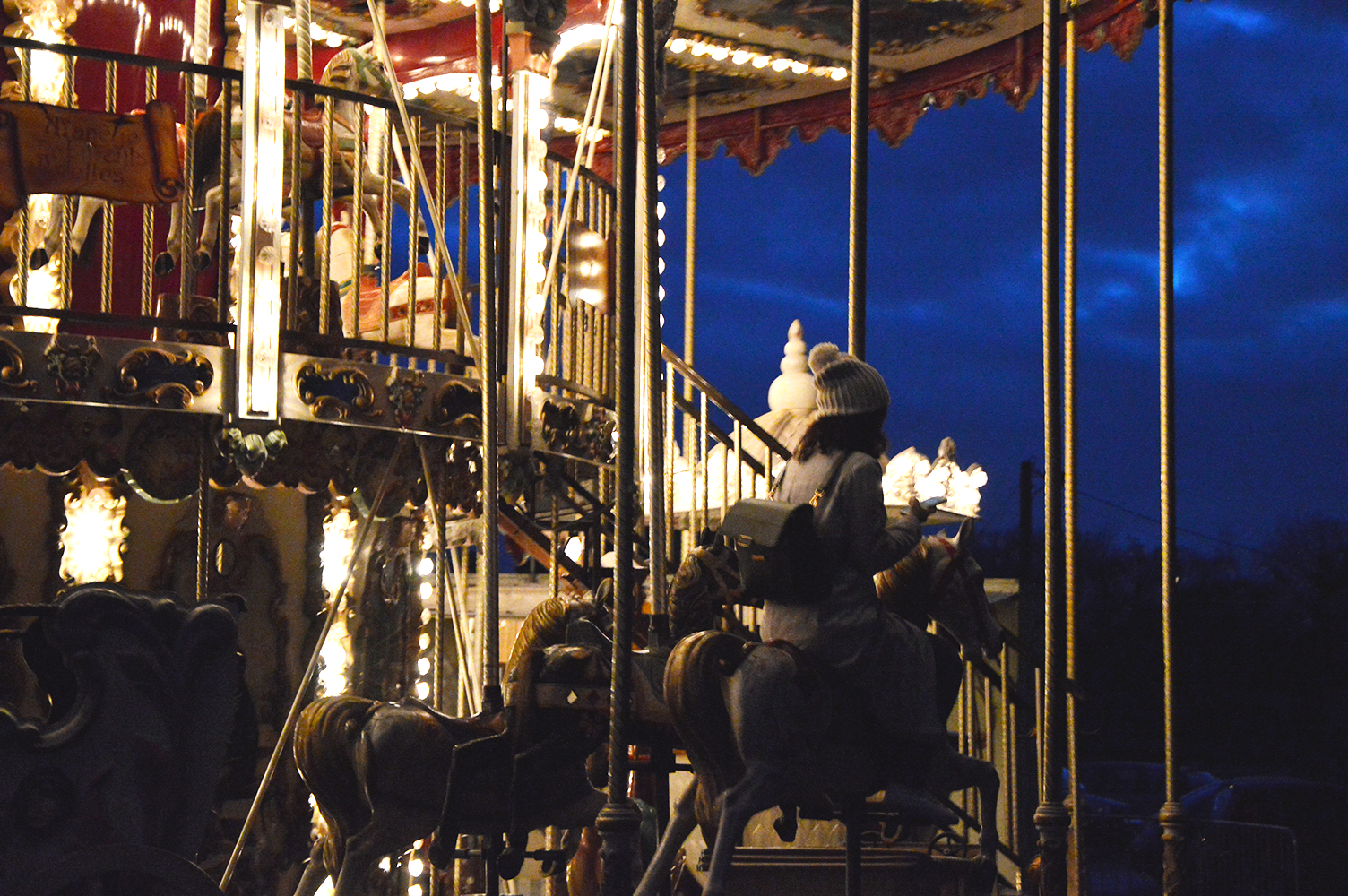 Carousel, Rambouillet, France, night photography, travel