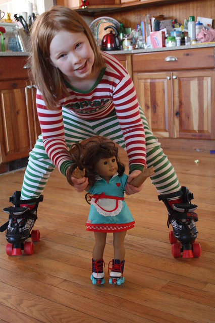 Roller Skating Girls: Santa brought Molly skates to go along with Tabby's