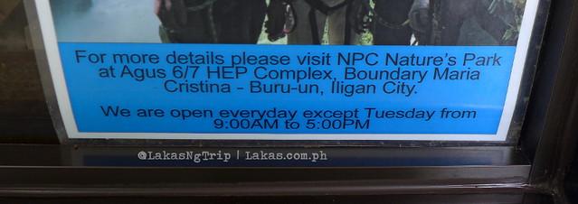 Park Schedule. NPC Nature's Park in Iligan City, Philippines