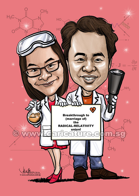 digital couple caricatures of physicist and chemist (watermarked)