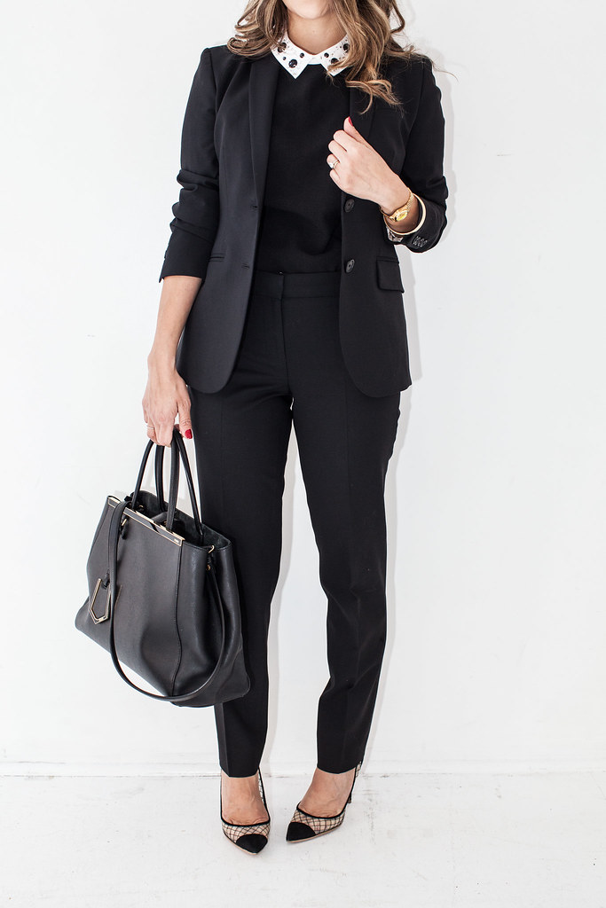 black blazer day to night professional blogger corporate blogger black outfit black blazer J.Crew Italian Wool Stretch Blazer J.Crew Pants ASOS Embellished Collar Top Kurt Geiger Sharkie Heels Fendi 2Jour Medium Purse  Night Outfit:  J.Crew Italian Wool Stretch Blazer Sam Edelman Velvet Waist Feather Skirt Joie Olivia Boots BCBGMaximara Belt Jessica McClintock Clutch