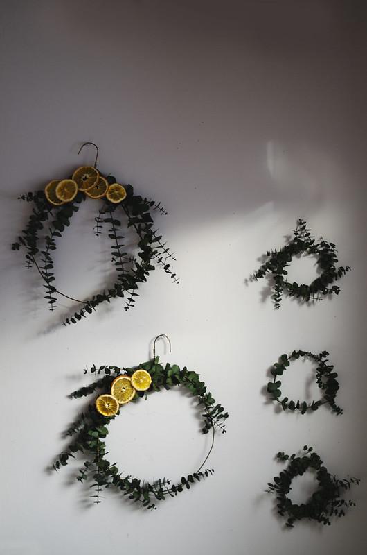 Eucalyptus and Dried Orange Wreath Tutorial on juliettelaura.blogspot.com