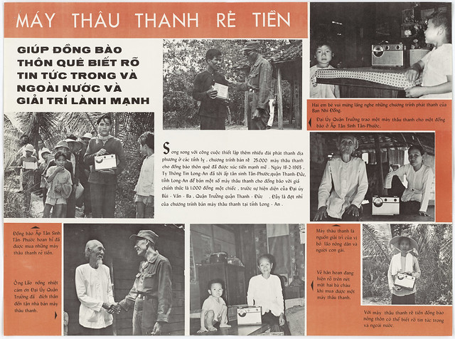 1965 Poster: MÁY THÂU THANH RẺ TIỀN - Low-Cost Radios Sold to Long An Rural Population (21-4-1965)
