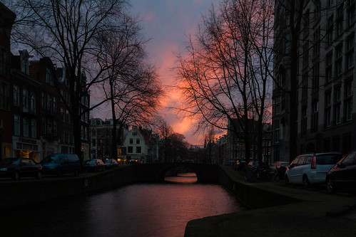 street city sunset color amsterdam sunrise river wather
