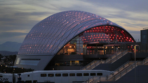Exterior lit, with train, Anaheim Regional Transportation Intermodal Center station