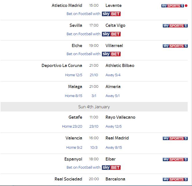 spanish la liga fixtures this weekend