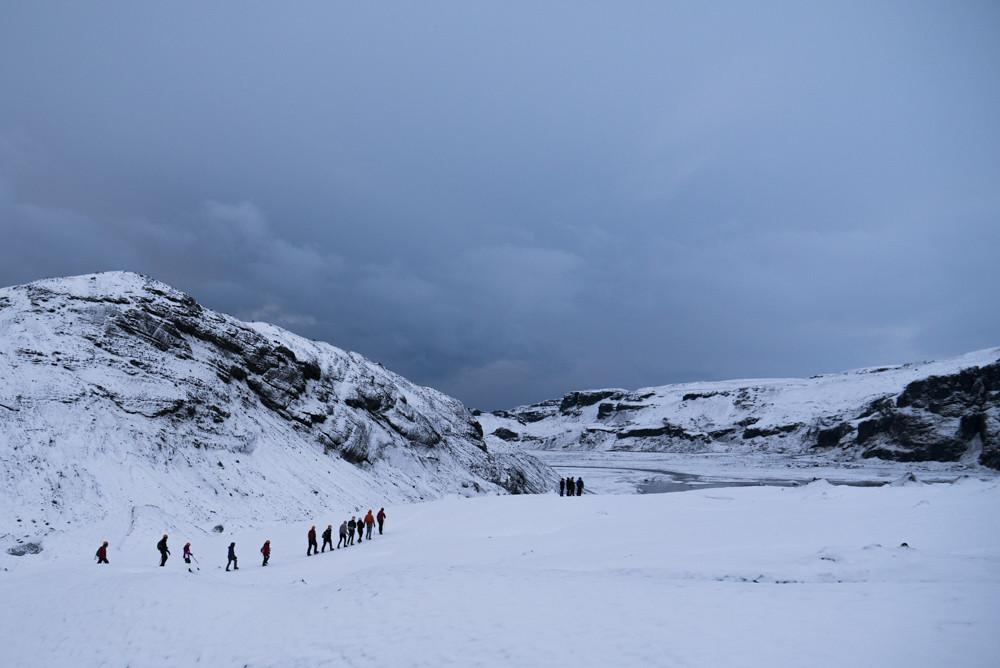 Trekking a glacier