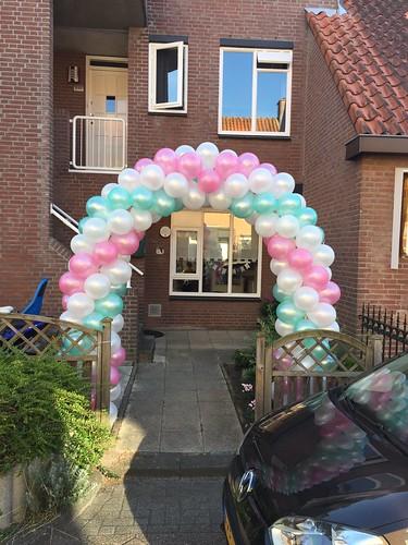 Ballonboog 6m Lichtgroen, Roze en Wit