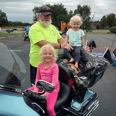 In an effort to fight jet lag and keep the girls occupied, I took them to Touch a Truck after we got back from Italy. They were both so excited to see Mr. Steve and sit on his motorcycle! #surrogategrandparents #neighbors