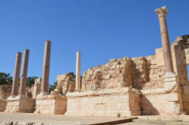 The reconstructed section of the scaenae frons, the decorated background of the stage comprises a row of marble and granite columns, Scythopolis (Beth-She'an), Israel