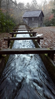Channeling the river water at Mingus Mill
