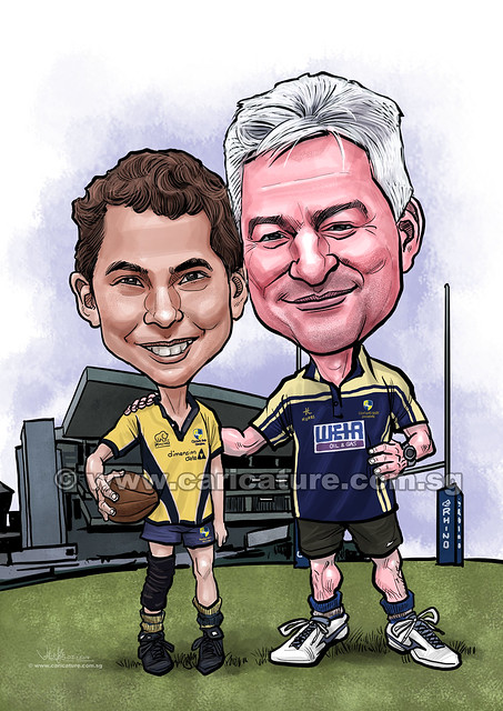 digital Rugby Club caricatures of Father and Son (watermarked)