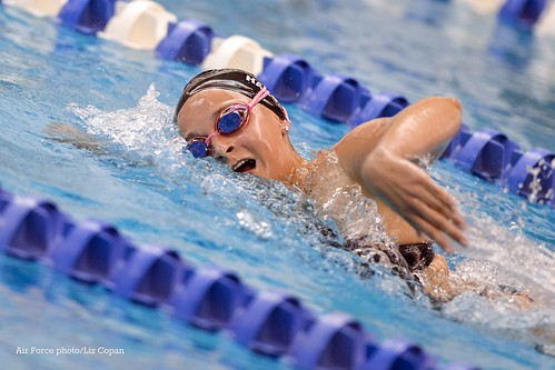 EMC0301 - Freshman Haylie Harbin competes in the women's 500 yard freestyle event