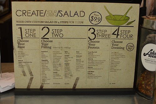 Create your own salad menu