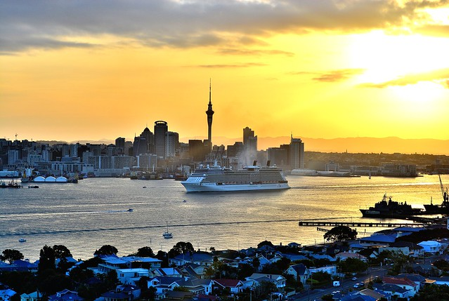 Celebrity Solstice at Sun Set.