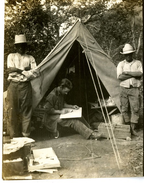 Watson M. Perrygo preparing specimens in Camp at Don Don, Haiti