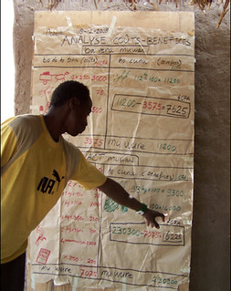 Farmer-participant doing cost-benefit analysis (Photo credit: ICRISAT)