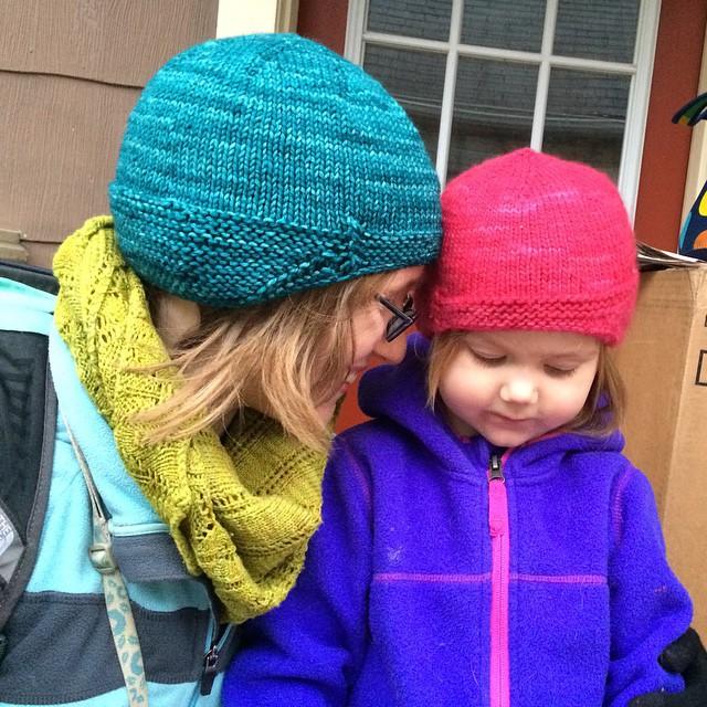 Matching hats.