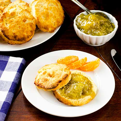 Green Tomato Jam on biscuit