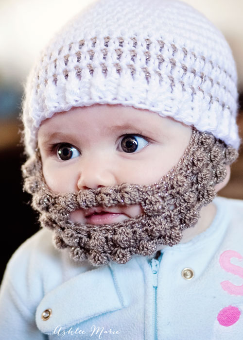 Beanie Hat With Beard Crochet Pattern Free : Crochet Striped Beanie Pattern- multiple sizes Ashlee Marie
