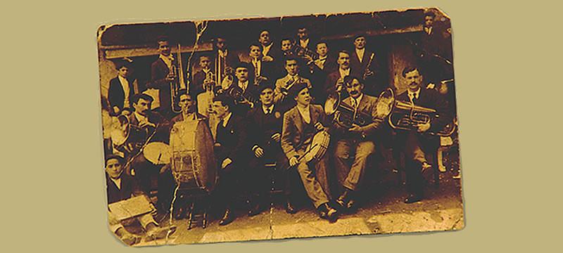 Postal del centenario de la Banda Santa Cecilia