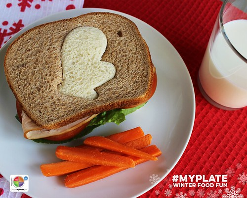 Sandwich with carrots and milk