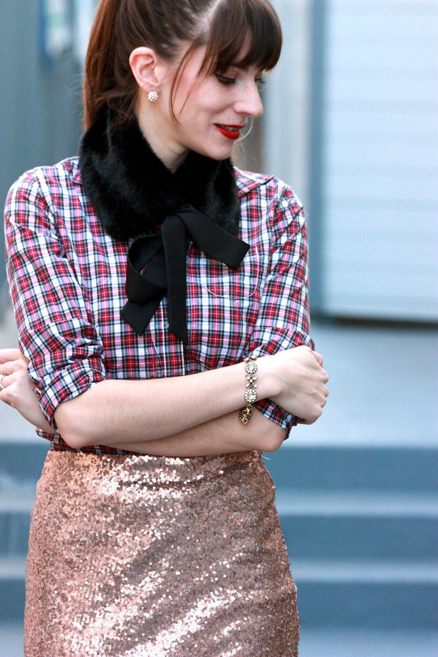 Holiday Outfit, Sequin Skirt, Plaid Shirt