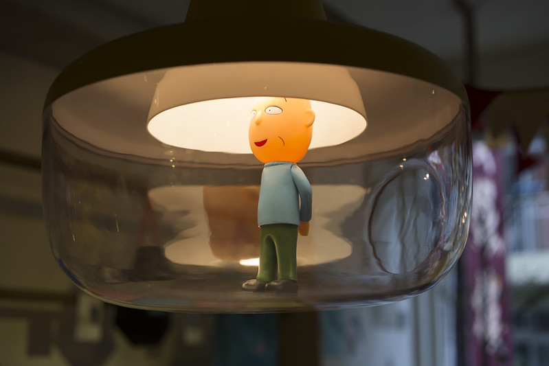 A doll displayed in a lamp, Taipei.