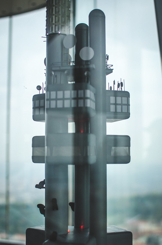 A scale model of the Žižkov Television Tower in Prague.