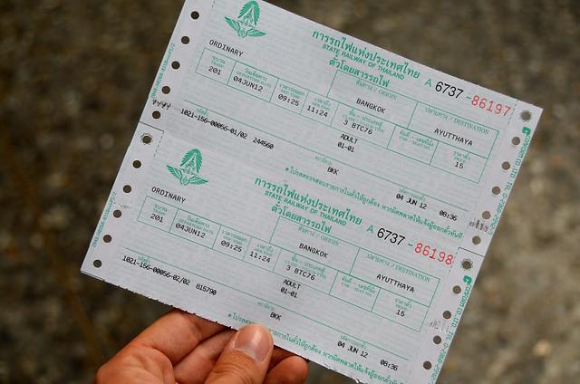 Ticket de tren para ir desde Bangkok a Ayutthaya