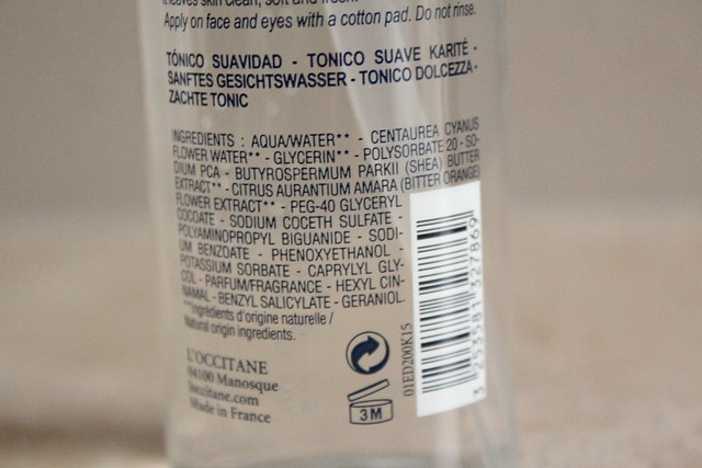 L'Occitane Shea Butter Gentle Toner ingredients