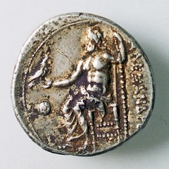 Greek coin from 325 B.C.E. reverse with Zeus