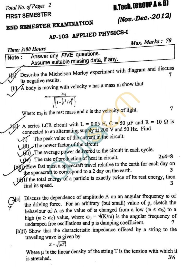 DTU: Question Papers 2012 – 1 Semester - End Sem - AP-103