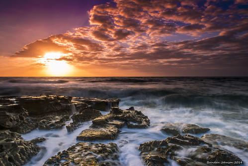 ocean longexposure sea sky sun seascape motion water clouds sunrise landscape gold golden nikon rocks waves australia nsw centralcoast ndfilter towoonbay d5300