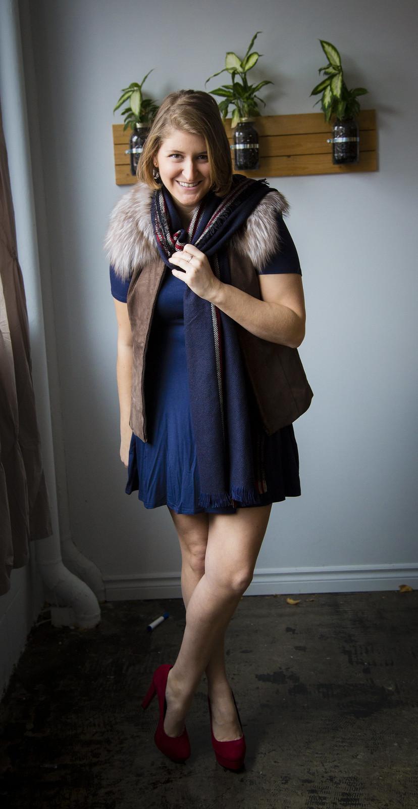 boutique rocco, Eläma,Camille Buisson-Gentilhomme, virginie pichet, virginie, andrée-anne joly, robe, bleu, fourrure, foulard, veste, talon haut, mode