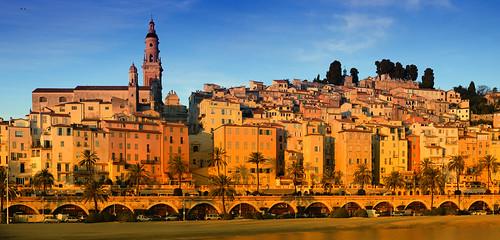 old panorama sun saint sunrise french town riviera côte cote rise michel ville azur menton vieille basilique dazur