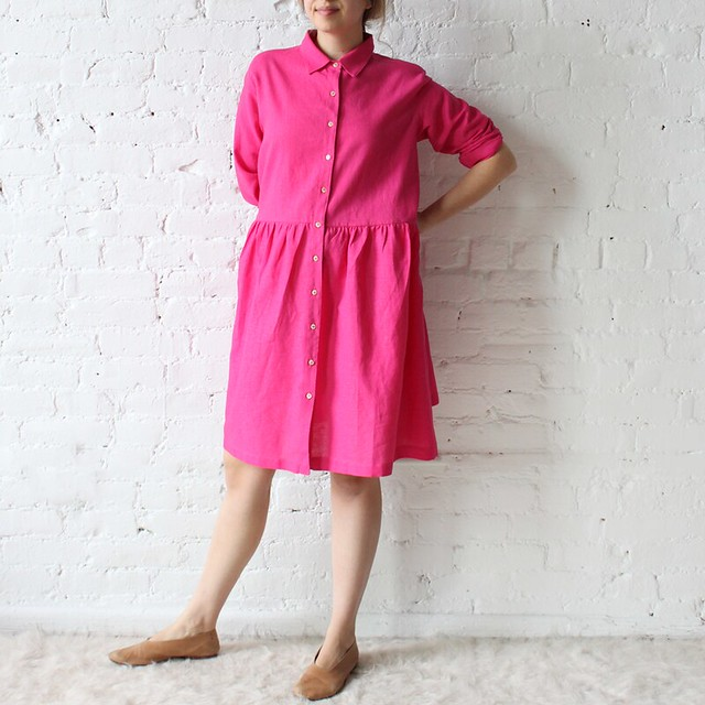 islington dress in pink linen