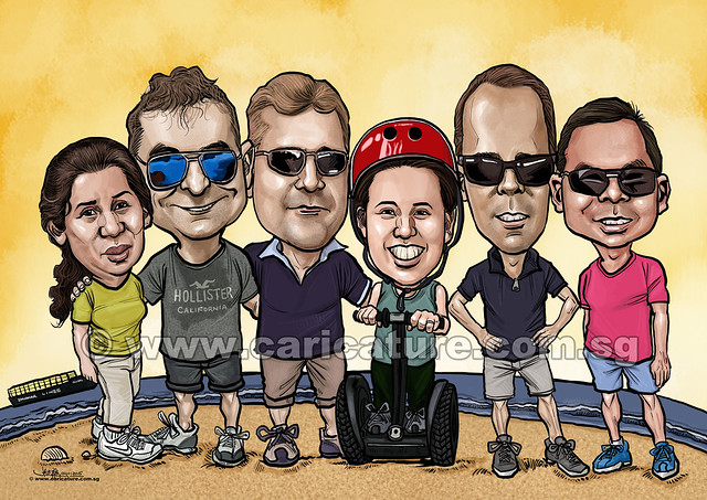 digital group of 6 caricatures for DHL (watermarked)