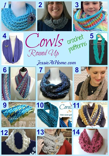 Crochet Cowls Pattern Round Up from Jessie At Home