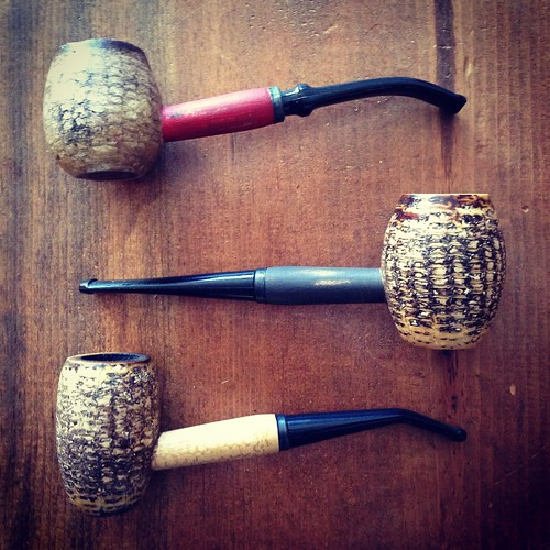Three corncob pipes.