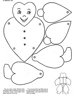 Articulated paper valentine doll
