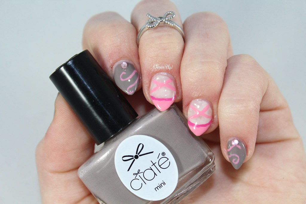Ciate Prima Ballerina and ballet shoe nail art