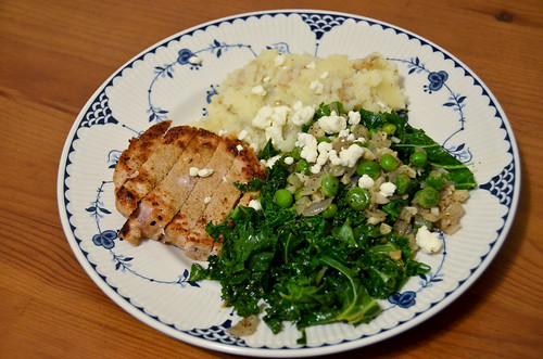 Spiced Pork Chops & Mashed Potatoes with Kale, English Peas & Goat Cheese