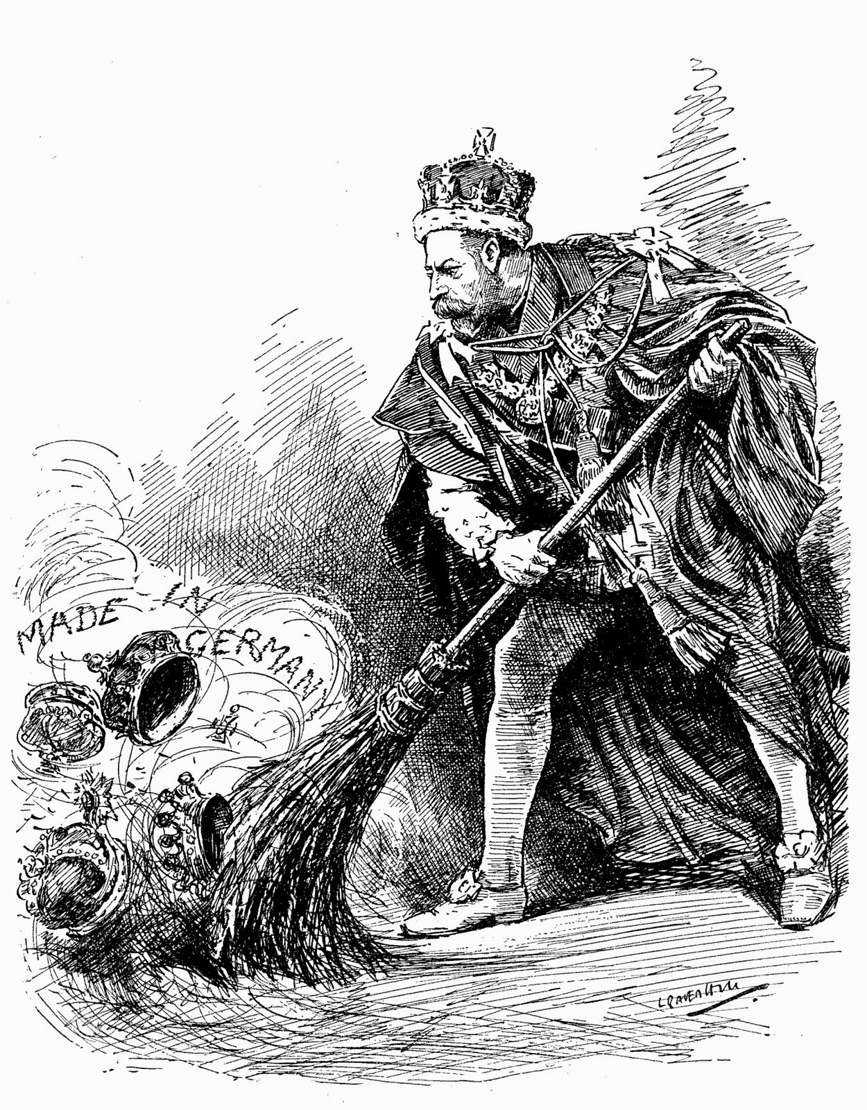 'A good riddance' A 1917 Punch cartoon depicts King George sweeping away his German titles