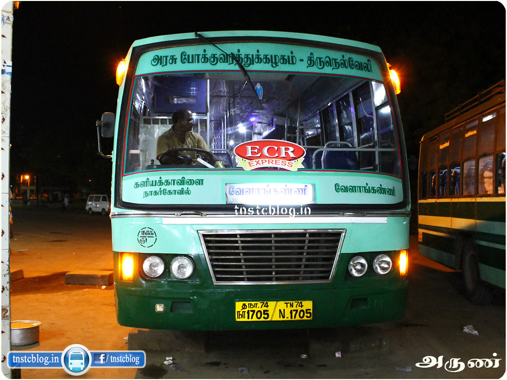 TN-74N-1705 of Kuzhithurai 1 Depot Route Kaliyakavilai - Velankanni via Marthandam, Karungal, Colachel, Rajakkamangalam, Nagercoil, Tirunelveli, Thoothukudi, Sayalkudi, Ramnathapuram, Thondi, Pattukottai, Thiruthooraipoondi.